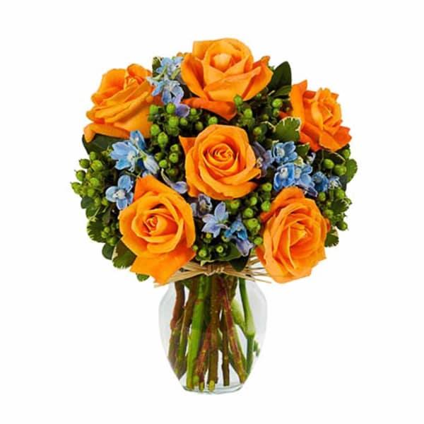 Sunny Orange Rose Bouquet