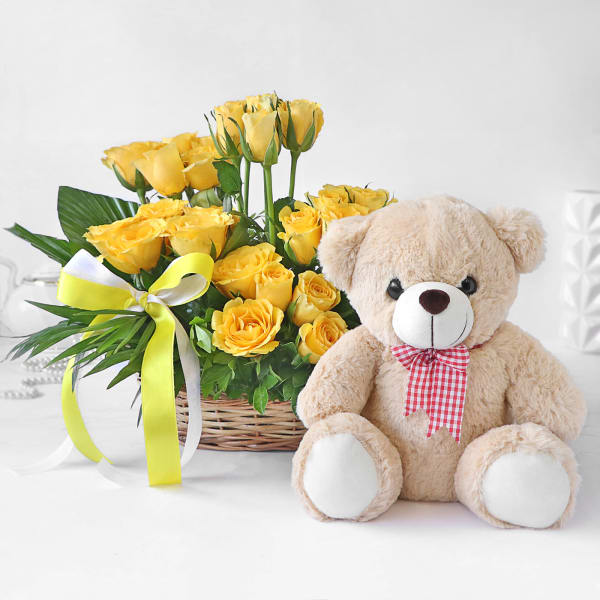 Sunshine Yellow Roses in Basket with Teddy