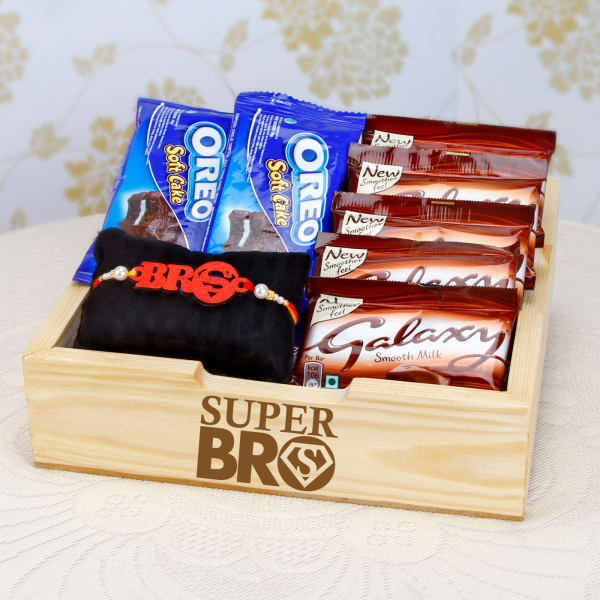 Super Bro Laser Cut Wooden Rakhi with Assorted Chocolates in
