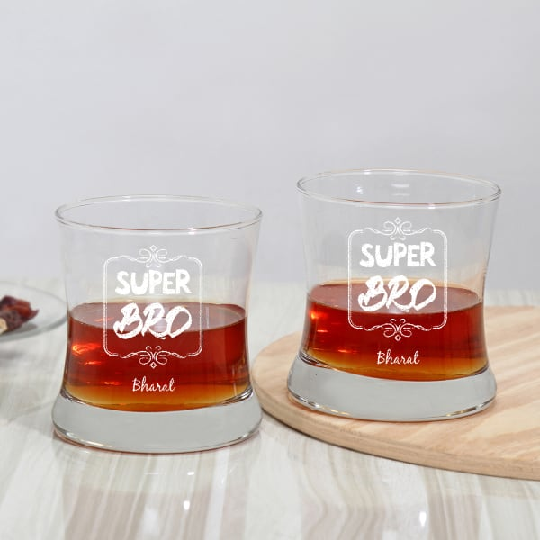 Super Bro Personalized Whiskey Glasses (Set of 2)