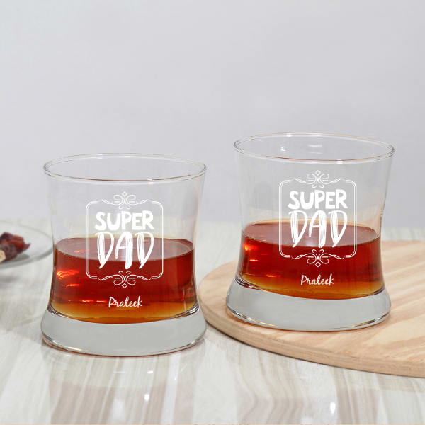 Super Dad Personalized Whiskey Glasses (Set of 2)