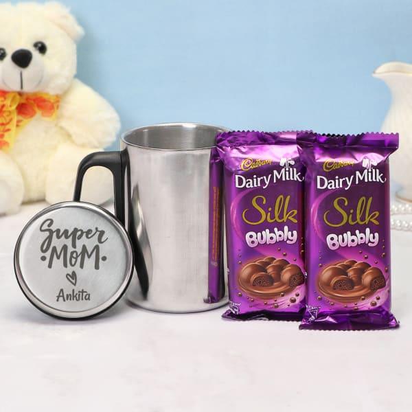 Super Mom Personalized Steel Mug with Cadbury