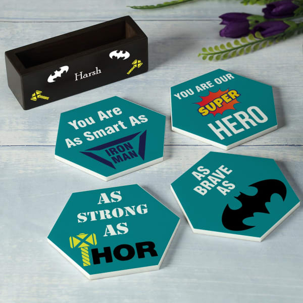 Superhero Coasters With Personalized Stand