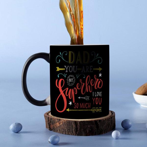 Superhero Dad Personalized Black Magic Mug