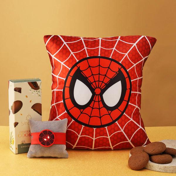 Superhero Kids Rakhi With Cookies And Cushion