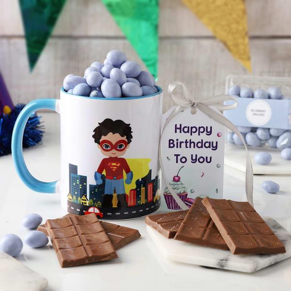 Superhero Mug With Dragees And Chocolates For Birthday