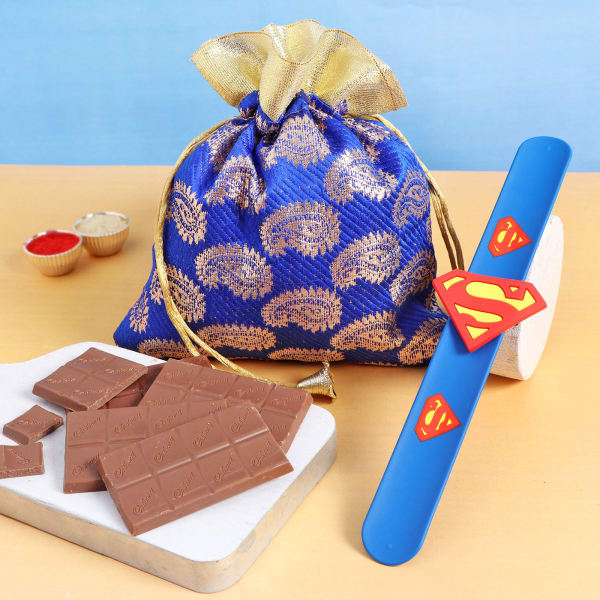 Superhero Rakhi With Chocolates In Potli