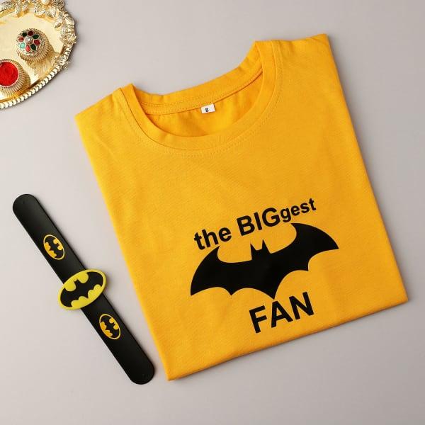 Superhero Slap Band Rakhi With Kids T-Shirt