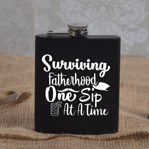 Surviving Fatherhood Metal Hip Flask