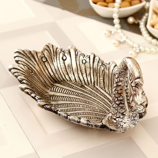 Swan Shaped White Metal Platter