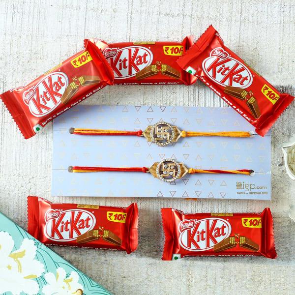 Swastik Rakhi with KitKat Chocolates