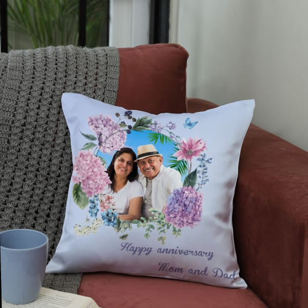 Sweet Personalized Anniversary Cushion For Mom Dad Giftsend Home