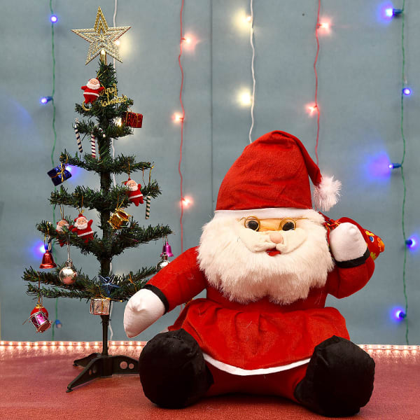Sweet Santa Teddy with Christmas Tree and Decoratives