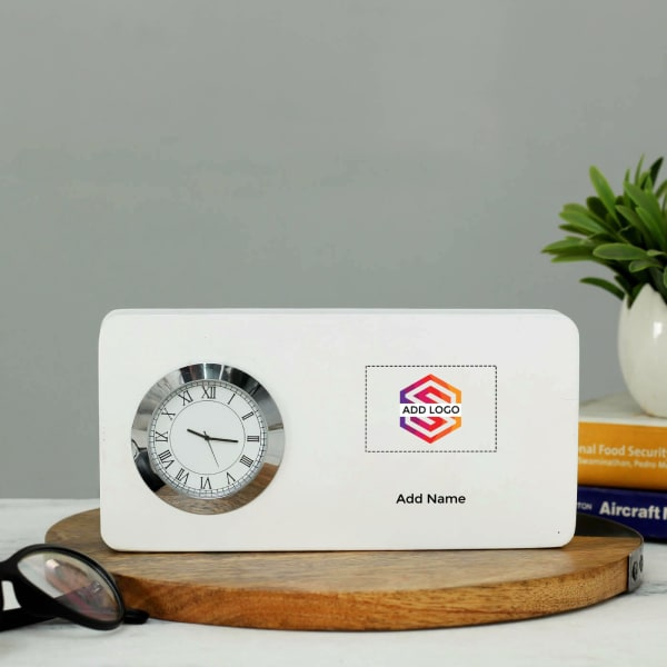 Table Clock - Customizable with Name & Logo