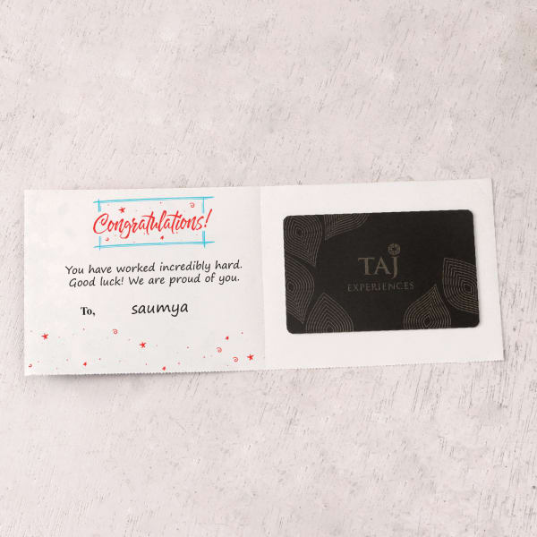 Taj Experiences 1000 INR Personalized Best Wishes Gift Card