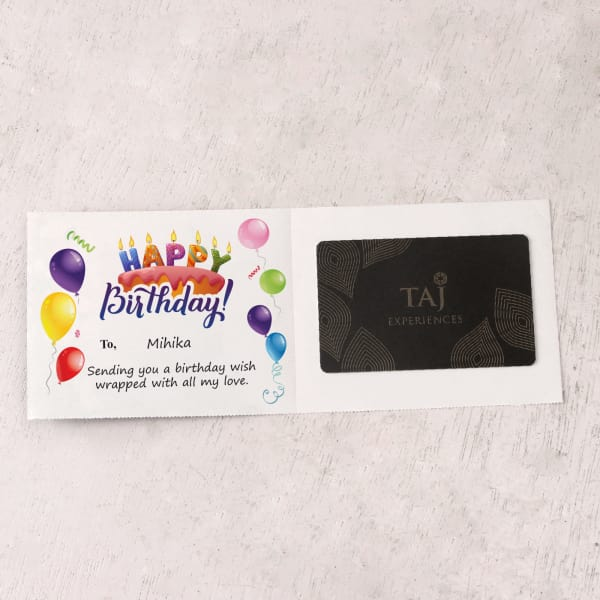 Taj Experiences 1000 INR Personalized Birthday Gift Card
