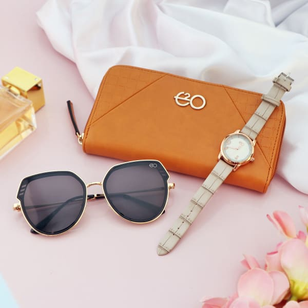 Tan Wallet With Sunglasses And Watch Combo