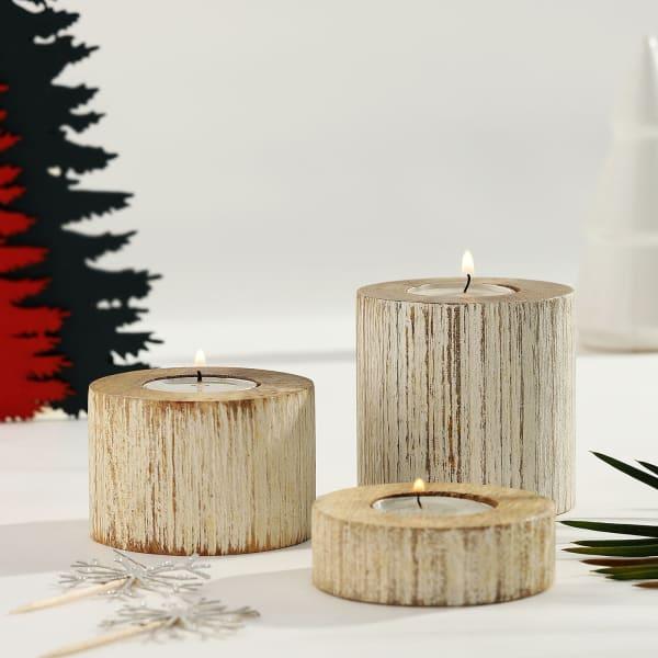 Tea-light Candles with Wooden Pillar Holders
