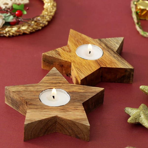 Tealight Candles with Wooden Star Shaped Holders