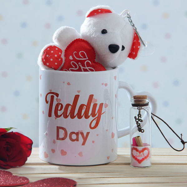 Teddy Love Combo With Cute Message Bottle