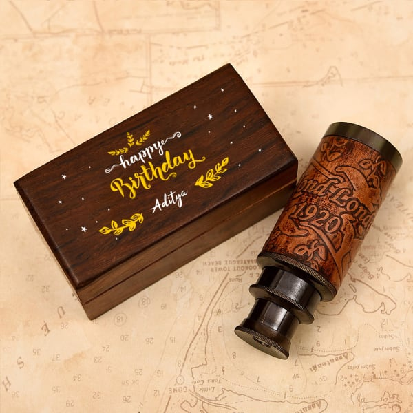Telescope (6 Inch) in Personalized Wooden Birthday Box