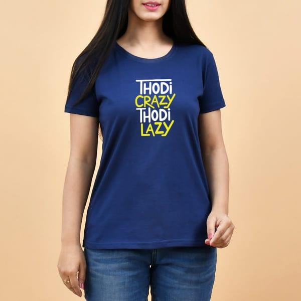 Thodi Crazy Thodi Lazy Navy Blue T-Shirt for Women