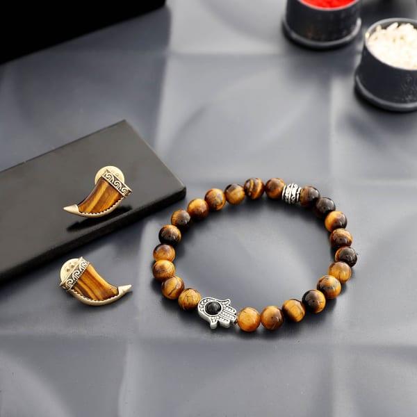 Tiger Eye Hamsa Bracelet Rakhi With Collar Pins
