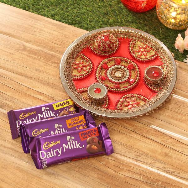 Tikka Thali with 3 Dairy Milk Chocolates