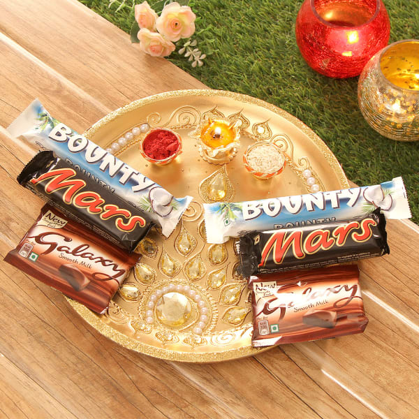 Tikka Thali with Bounty, Mars & Galaxy Chocolates
