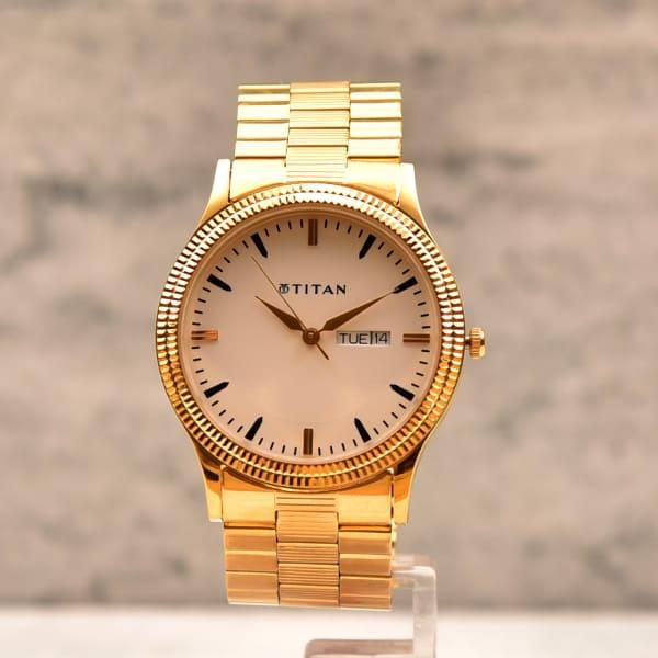 Wedding Gift Watches: Titan Round Dial Golden Men Watch: Gift/Send Fashion And