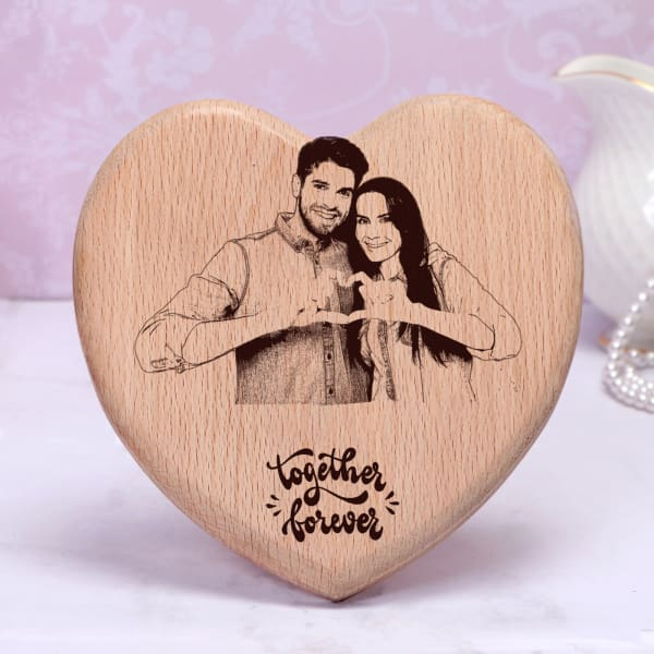 Together Forever Personalized Engraved Wooden Photo Stand