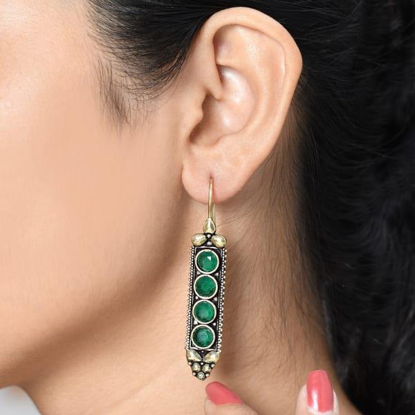 Totem Inspired Green Stone Earrings