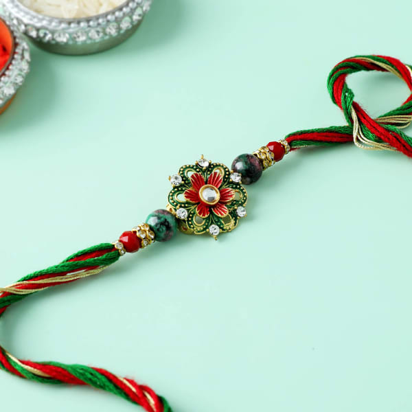 Traditional Meena And Beads Floral Rakhi