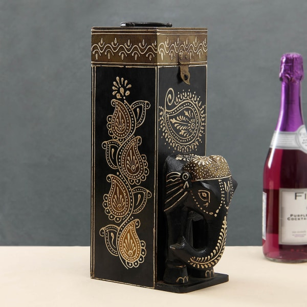 Traditional Wooden Hand Painted Wine Box
