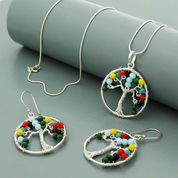 Tree Of Life Pendant And Earrings Set