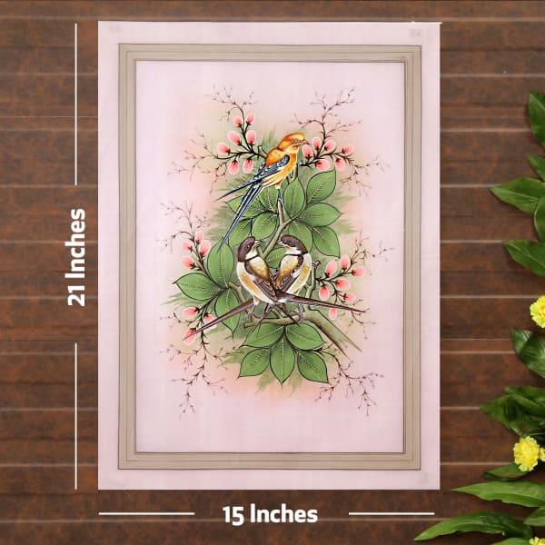 Triple Tweet Bird Silk Painting