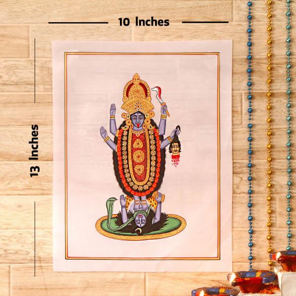 Ugrakali Gold Idol Silk Painting