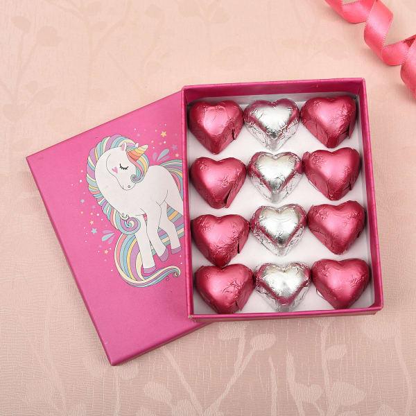 Unicorn Special Box with Heart Shape Dark and Milk Chocolates