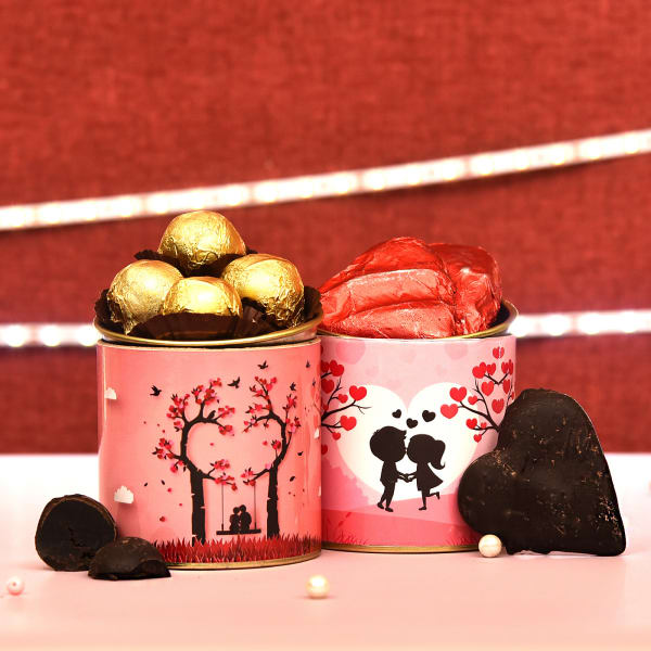 Valentine Special Chocolate Truffle & Choco Dipped Cookie Cans