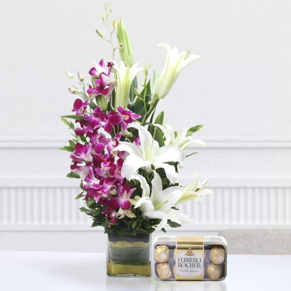 Vase of 5 Purple Orchids & 3 Lilies with 16 Pcs Ferrero Rocher Box