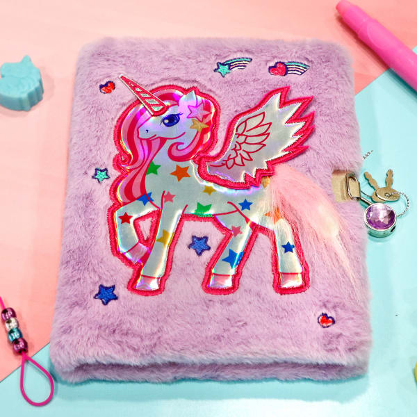 Whimsical Unicorn Plush Notebook with Lock