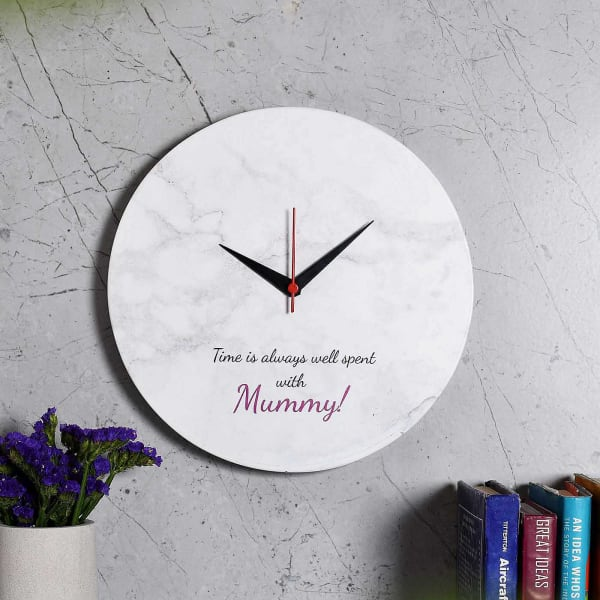 White Marble Finish Wall Clock for Mom