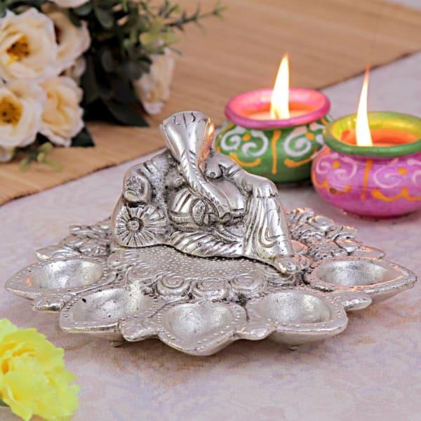 White Metal Ganesha Panch Aarti Diya