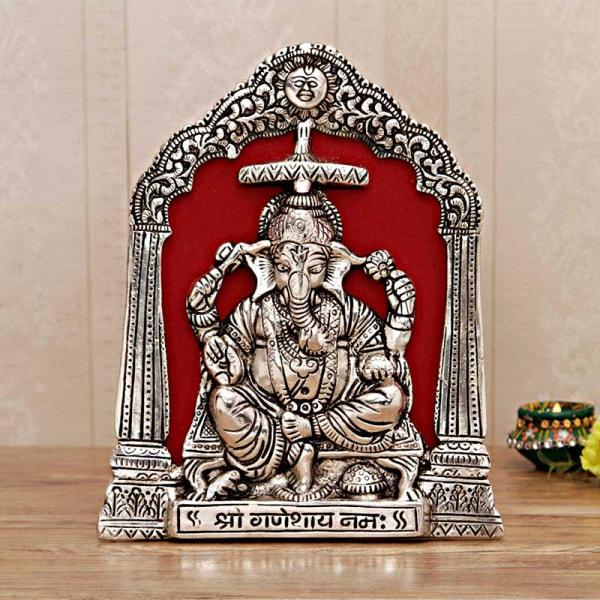 White Metal Lord Ganesha Wall Hanging