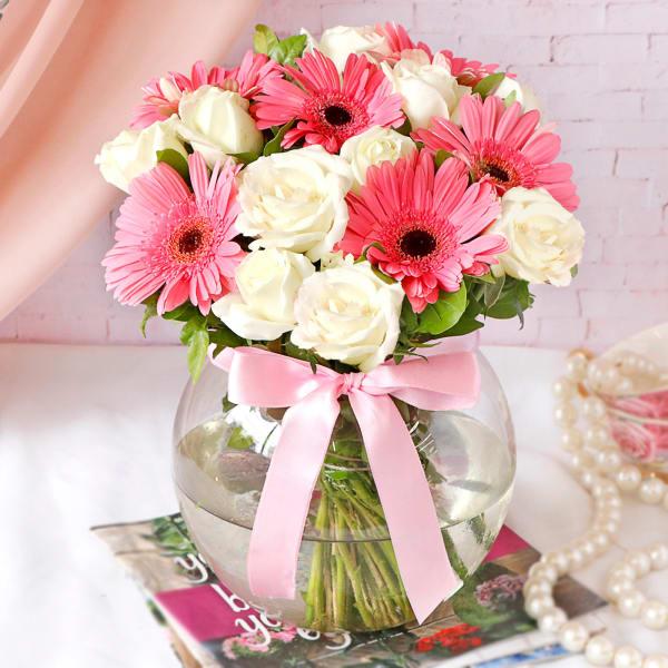 White Roses & Pink Gerberas In Round Vase