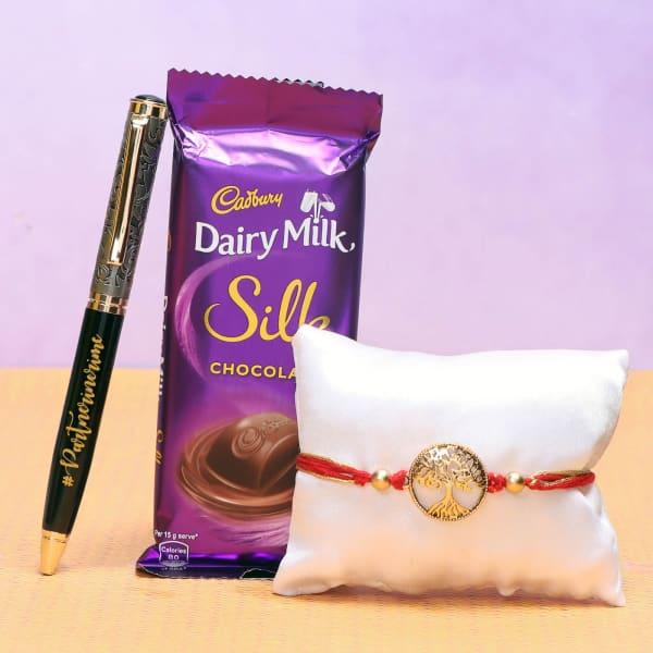 Wishing Tree Rakhi with Cadbury Chocolate & Pen Hamper
