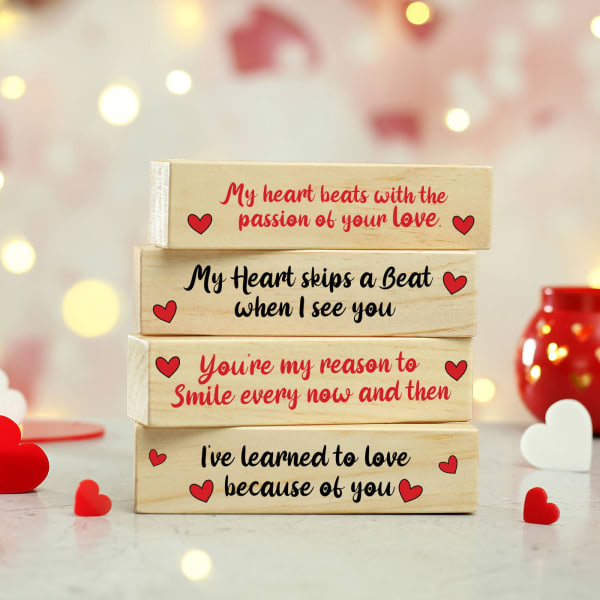 Wooden Blocks with Love Message in Tray