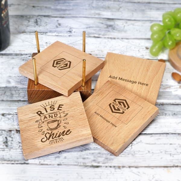 Wooden Coaster Set- Customized with Logo & Message