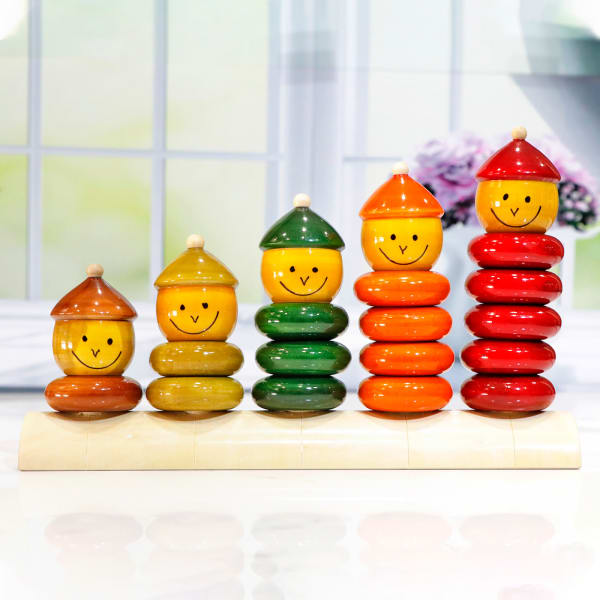 Wooden Colourful Match & Stack Dolls - Set of 5