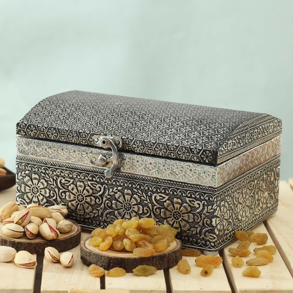Wooden Metal Embossed Oxidized Chest with Dry Fruits